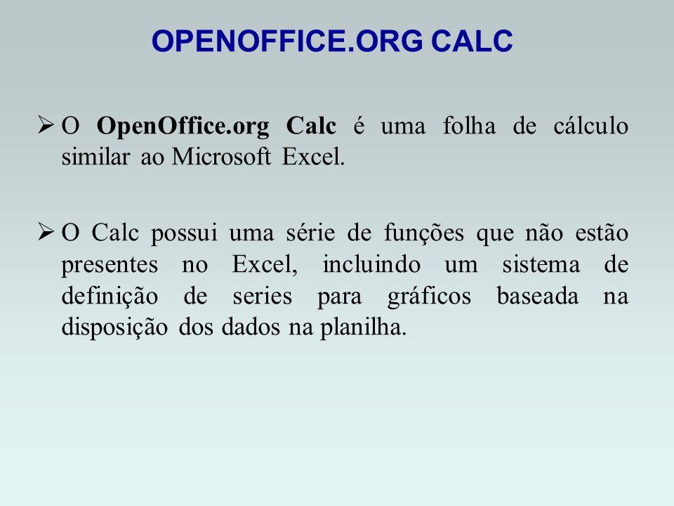 OPENOFFICE.ORG CALC O OpenOffice.org Calc é uma folha de cálculo similar ao Microsoft Excel.