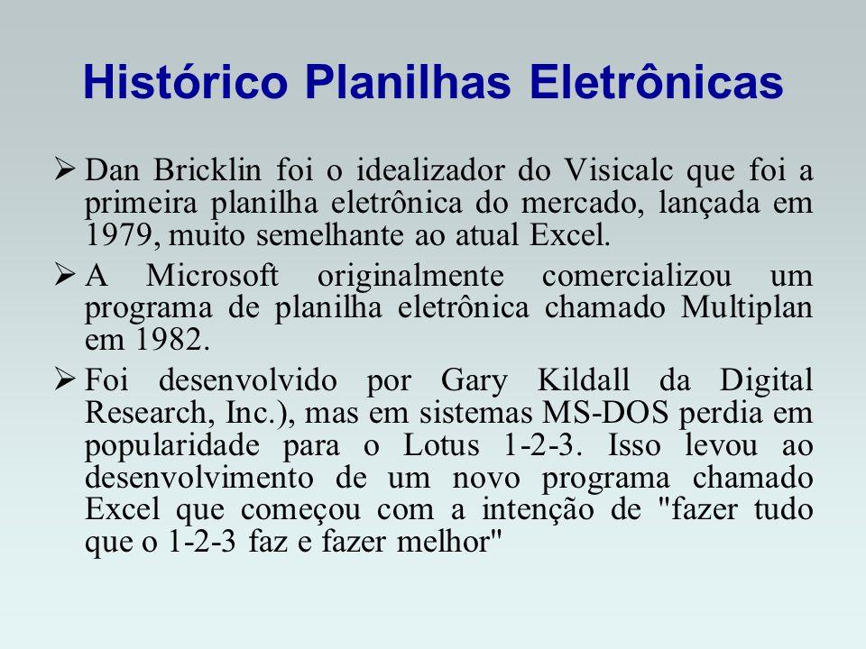 Histórico Planilhas Eletrônicas Dan Bricklin foi o idealizador do Visicalc que foi a primeira planilha eletrônica do mercado, lançada em 1979, muito semelhante ao atual Excel.