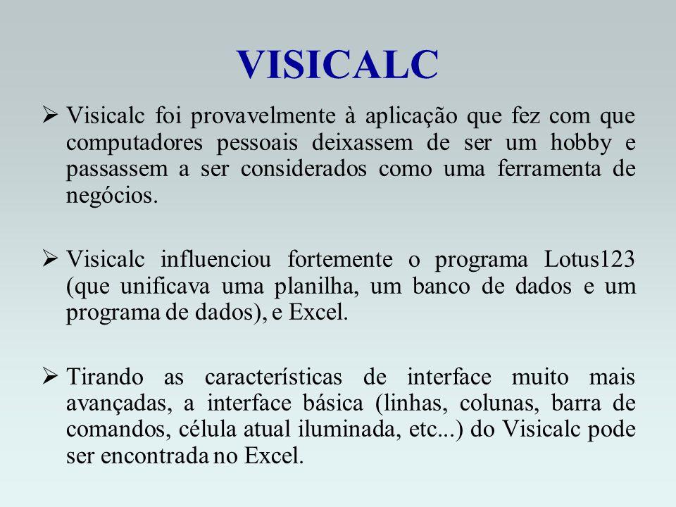VISICALC Visicalc foi provavelmente à aplicação que fez com que computadores pessoais deixassem de ser um hobby e passassem a ser considerados como uma ferramenta de negócios.