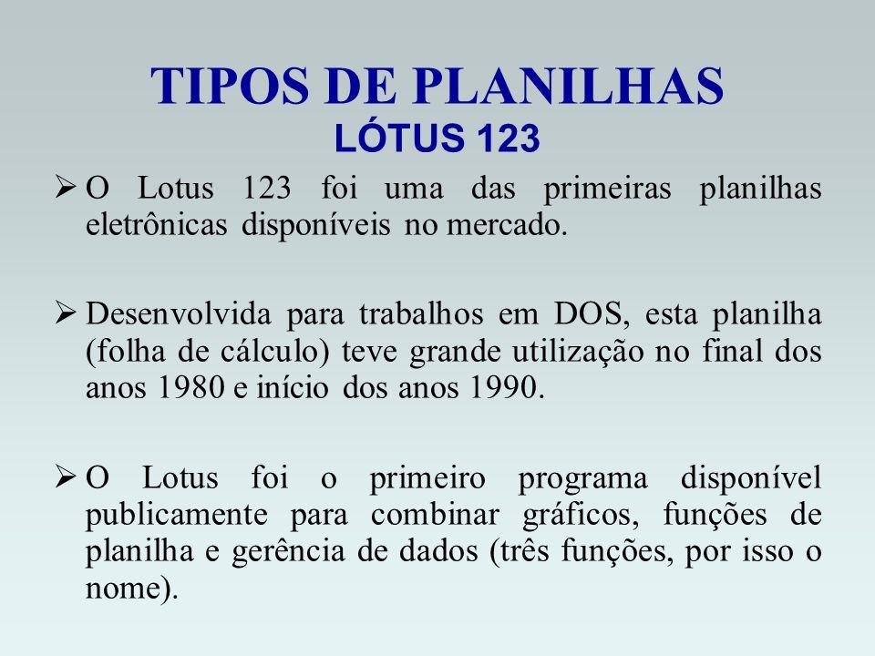 TIPOS DE PLANILHAS LÓTUS 123 O Lotus 123 foi uma das primeiras planilhas eletrônicas disponíveis no mercado.