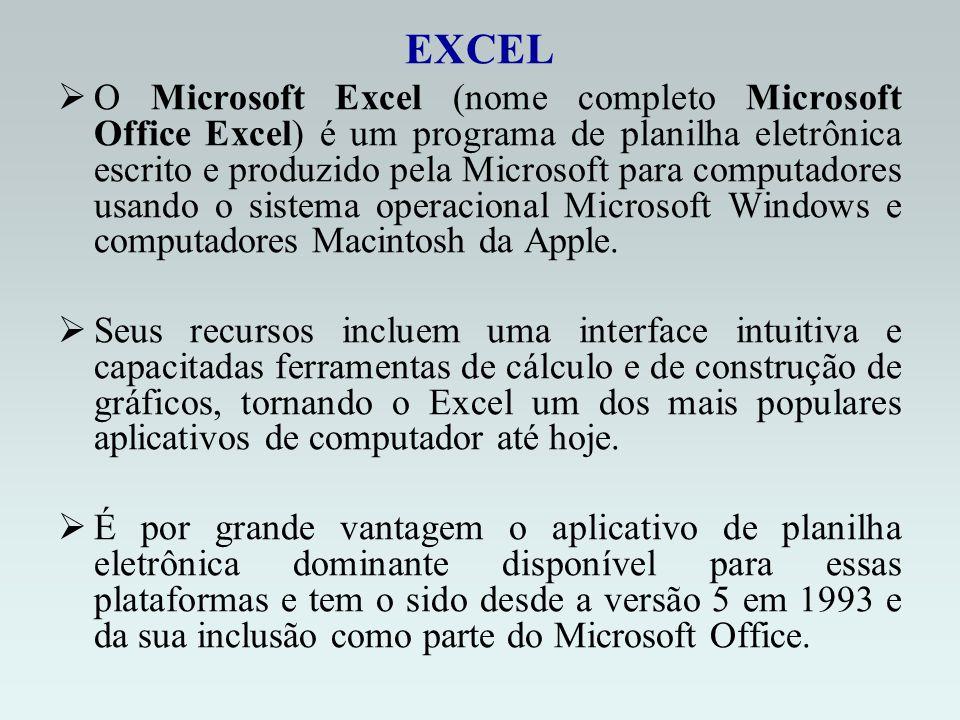 EXCEL O Microsoft Excel (nome completo Microsoft Office Excel) é um programa de planilha eletrônica escrito e produzido pela Microsoft para computadores usando o sistema operacional Microsoft Windows e computadores Macintosh da Apple.