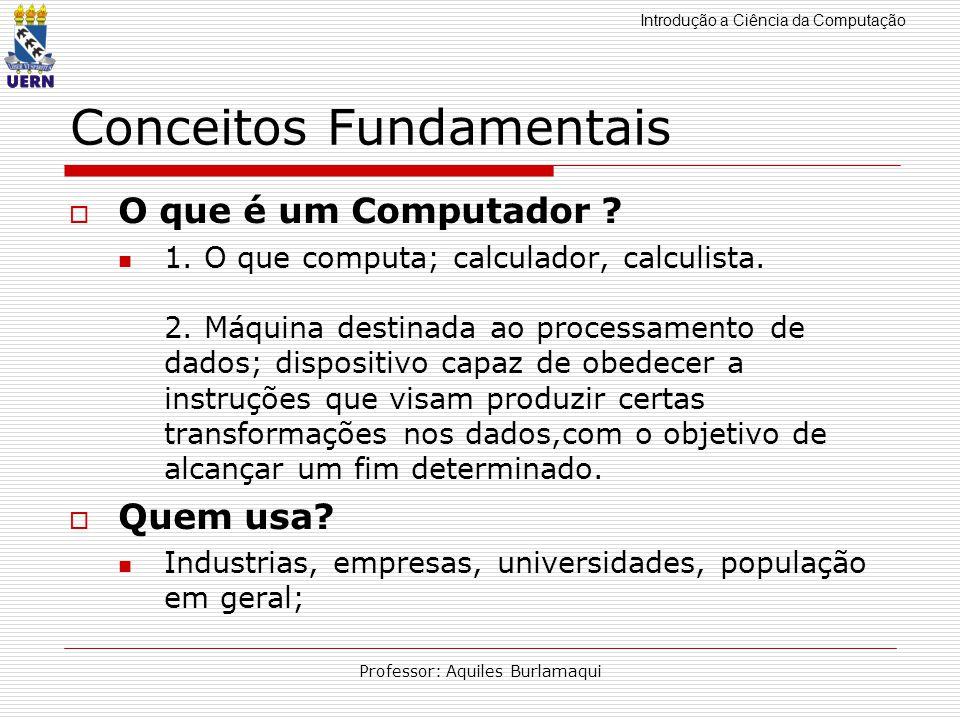 Introdução a Ciência da Computação Professor: Aquiles Burlamaqui Conceitos Fundamentais O que é um Computador ? 1. O que computa; calculador, calculis
