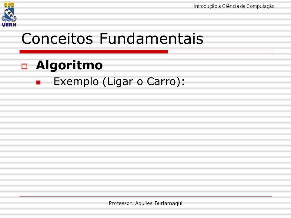 Introdução a Ciência da Computação Professor: Aquiles Burlamaqui Conceitos Fundamentais Algoritmo Exemplo (Ligar o Carro):
