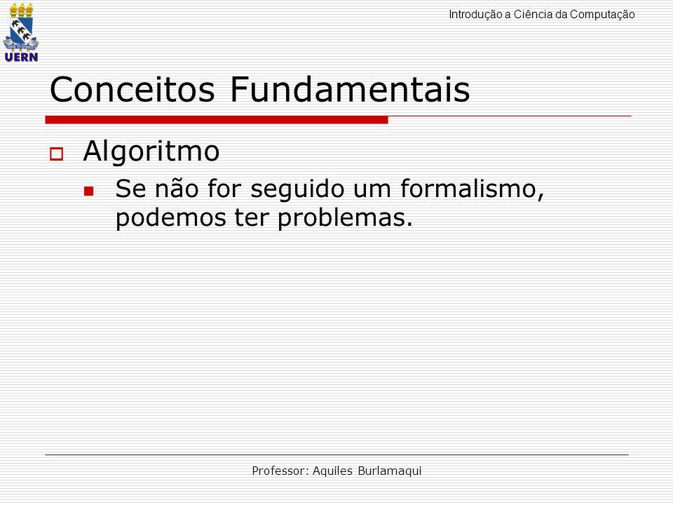 Introdução a Ciência da Computação Professor: Aquiles Burlamaqui Conceitos Fundamentais Algoritmo Se não for seguido um formalismo, podemos ter proble