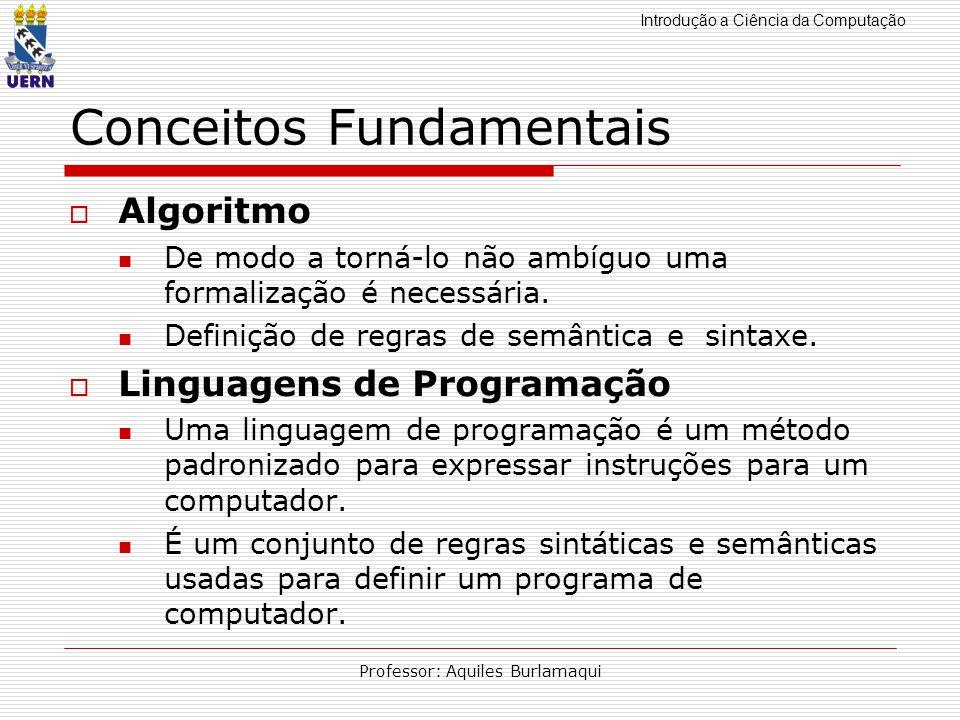 Introdução a Ciência da Computação Professor: Aquiles Burlamaqui Conceitos Fundamentais Algoritmo De modo a torná-lo não ambíguo uma formalização é ne