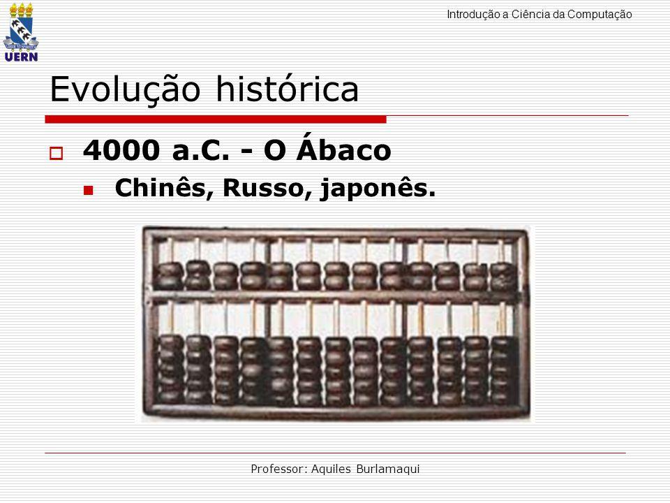 Introdução a Ciência da Computação Professor: Aquiles Burlamaqui Evolução histórica 4000 a.C. - O Ábaco Chinês, Russo, japonês.