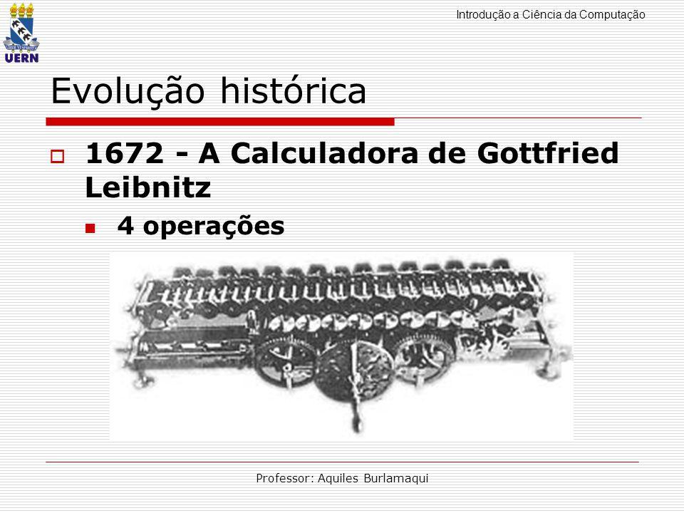 Introdução a Ciência da Computação Professor: Aquiles Burlamaqui Evolução histórica 1672 - A Calculadora de Gottfried Leibnitz 4 operações
