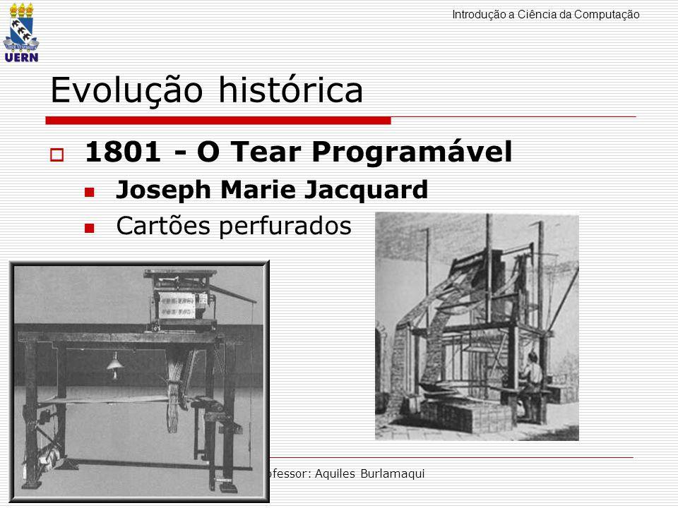 Introdução a Ciência da Computação Professor: Aquiles Burlamaqui Evolução histórica 1801 - O Tear Programável Joseph Marie Jacquard Cartões perfurados