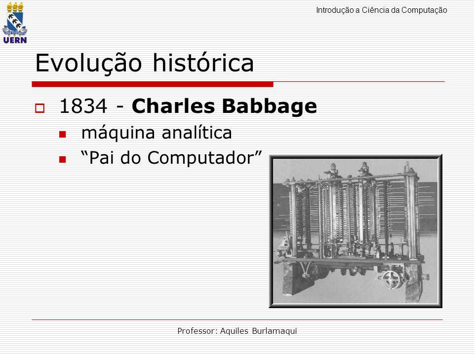 Introdução a Ciência da Computação Professor: Aquiles Burlamaqui Evolução histórica 1834 - Charles Babbage máquina analítica Pai do Computador