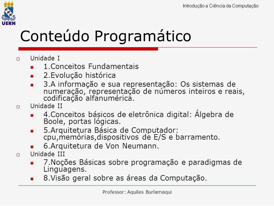 Introdução a Ciência da Computação Professor: Aquiles Burlamaqui Conteúdo Programático Unidade I 1.Conceitos Fundamentais 2.Evolução histórica 3.A inf