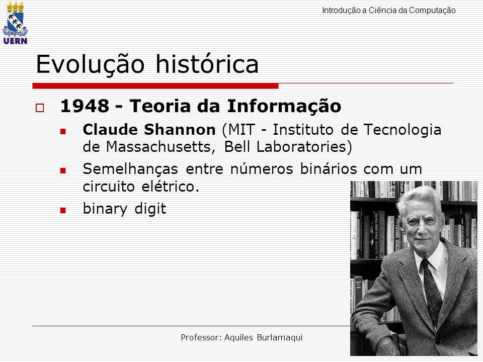 Introdução a Ciência da Computação Professor: Aquiles Burlamaqui Evolução histórica 1948 - Teoria da Informação Claude Shannon (MIT - Instituto de Tec