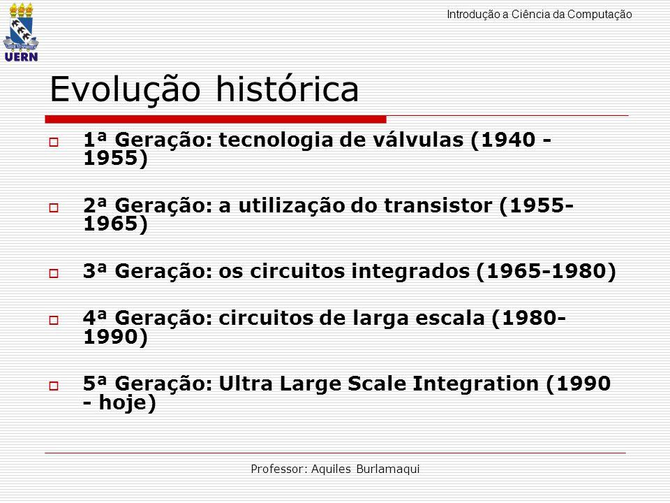 Introdução a Ciência da Computação Professor: Aquiles Burlamaqui Evolução histórica 1ª Geração: tecnologia de válvulas (1940 - 1955) 2ª Geração: a uti