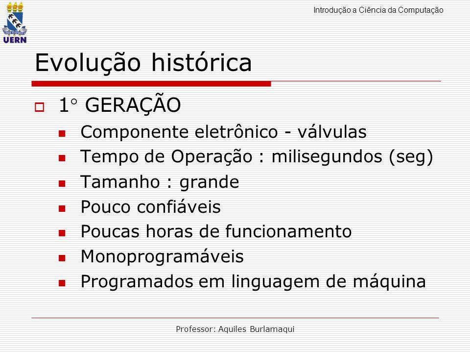 Introdução a Ciência da Computação Professor: Aquiles Burlamaqui Evolução histórica 1 GERAÇÃO Componente eletrônico - válvulas Tempo de Operação : mil
