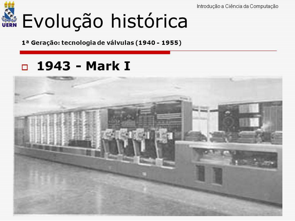 Introdução a Ciência da Computação Professor: Aquiles Burlamaqui Evolução histórica 1ª Geração: tecnologia de válvulas (1940 - 1955) 1943 - Mark I