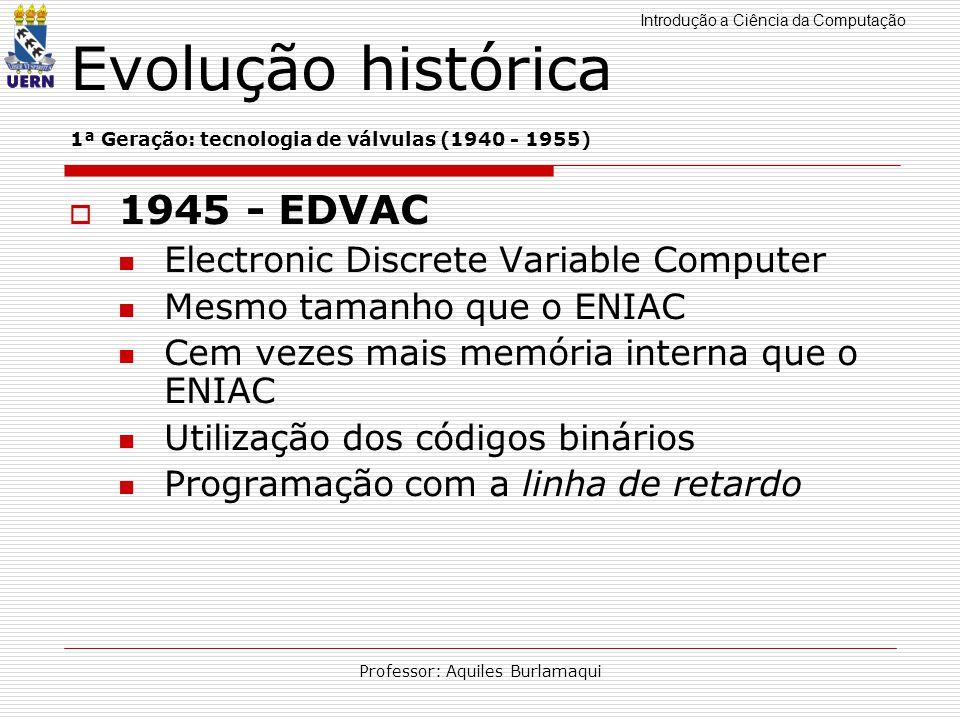 Introdução a Ciência da Computação Professor: Aquiles Burlamaqui Evolução histórica 1ª Geração: tecnologia de válvulas (1940 - 1955) 1945 - EDVAC Elec