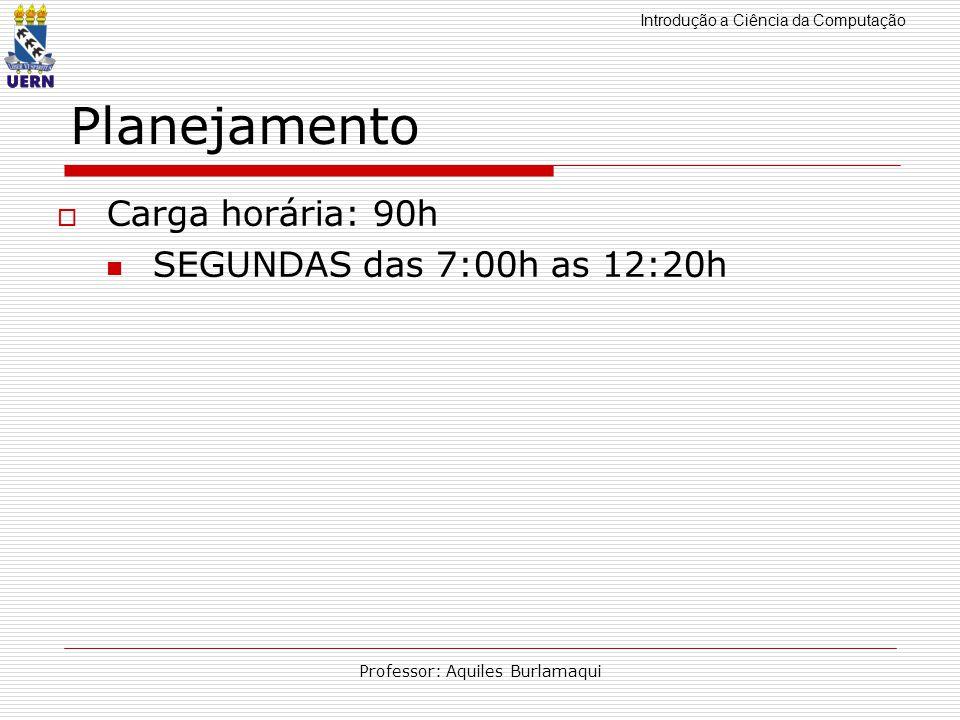 Introdução a Ciência da Computação Professor: Aquiles Burlamaqui Planejamento Carga horária: 90h SEGUNDAS das 7:00h as 12:20h