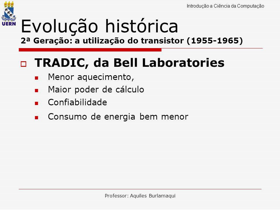 Introdução a Ciência da Computação Professor: Aquiles Burlamaqui Evolução histórica 2ª Geração: a utilização do transistor (1955-1965) TRADIC, da Bell