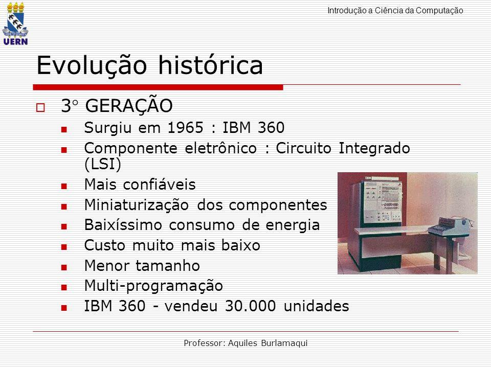 Introdução a Ciência da Computação Professor: Aquiles Burlamaqui Evolução histórica 3 GERAÇÃO Surgiu em 1965 : IBM 360 Componente eletrônico : Circuit