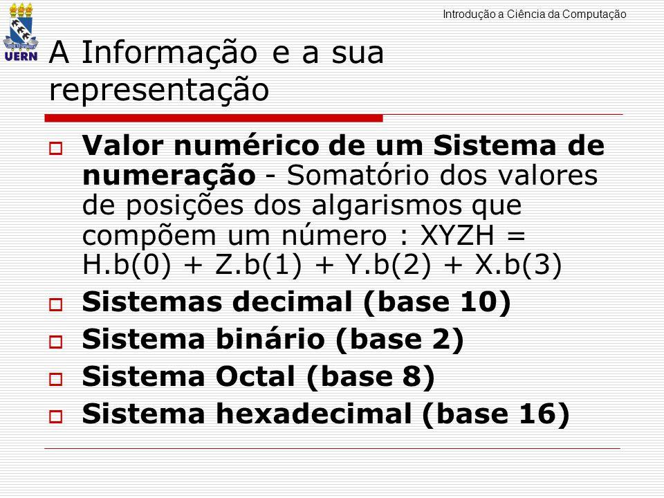 Introdução a Ciência da Computação A Informação e a sua representação Valor numérico de um Sistema de numeração - Somatório dos valores de posições dos algarismos que compõem um número : XYZH = H.b(0) + Z.b(1) + Y.b(2) + X.b(3) Sistemas decimal (base 10) Sistema binário (base 2) Sistema Octal (base 8) Sistema hexadecimal (base 16)