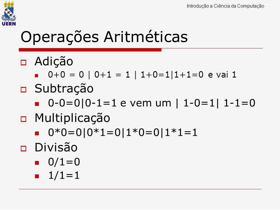 Introdução a Ciência da Computação Operações Aritméticas Adição 0+0 = 0 | 0+1 = 1 | 1+0=1|1+1=0 e vai 1 Subtração 0-0=0|0-1=1 e vem um | 1-0=1| 1-1=0