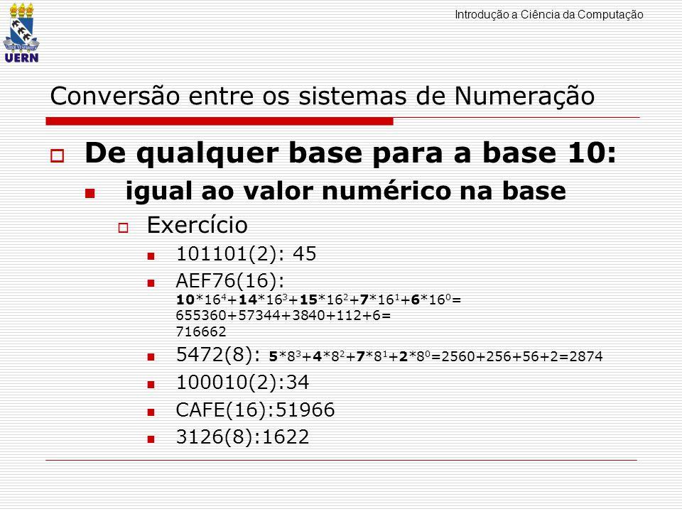 Introdução a Ciência da Computação Conversão entre os sistemas de Numeração De qualquer base para a base 10: igual ao valor numérico na base Exercício