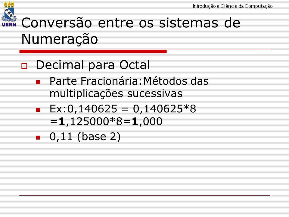 Introdução a Ciência da Computação Conversão entre os sistemas de Numeração Da base 2 para a base 16 - agrupamos o número binário em grupo de quatro, símbolos da direita para a esquerda, calculamos o valor em decimal para esses grupos e os substituímos pelo seu valor correspondente em hexadecimal.