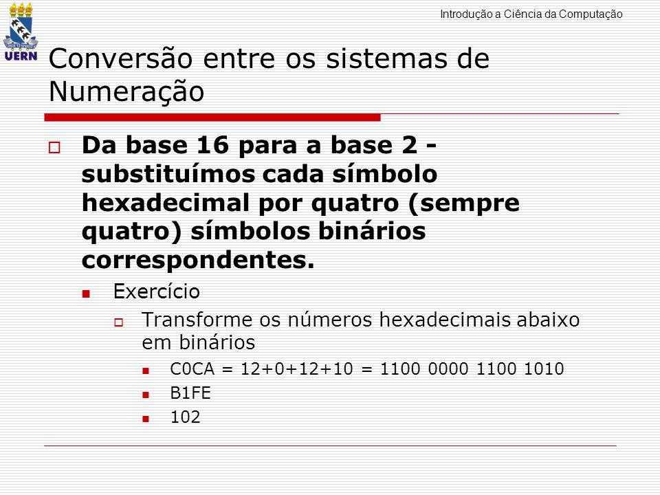 Introdução a Ciência da Computação Conversão entre os sistemas de Numeração Da base 16 para a base 2 - substituímos cada símbolo hexadecimal por quatr