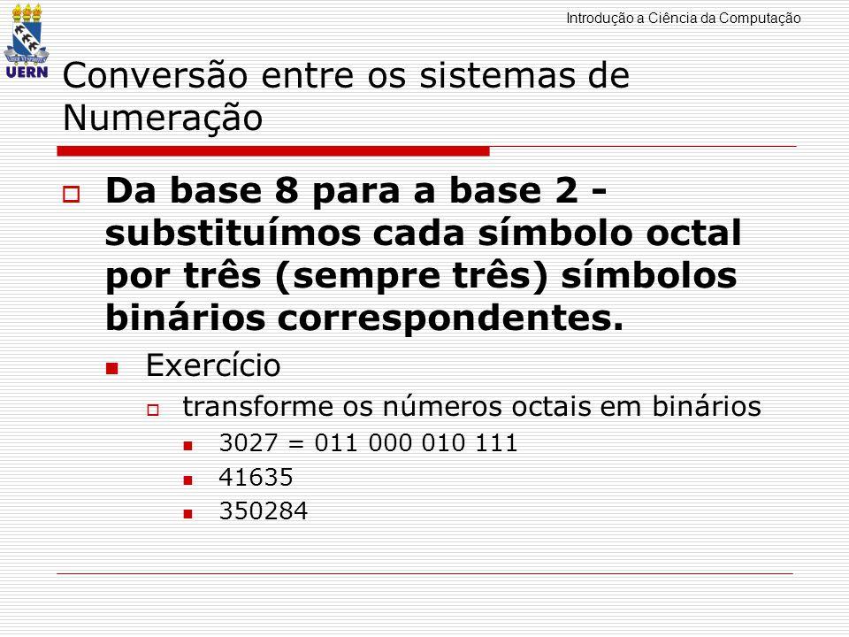 Introdução a Ciência da Computação Conversão entre os sistemas de Numeração Da base 8 para a base 2 - substituímos cada símbolo octal por três (sempre três) símbolos binários correspondentes.