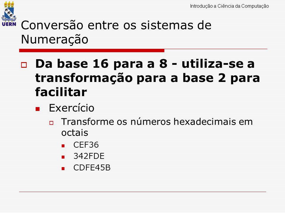 Introdução a Ciência da Computação Conversão entre os sistemas de Numeração Da base 16 para a 8 - utiliza-se a transformação para a base 2 para facili