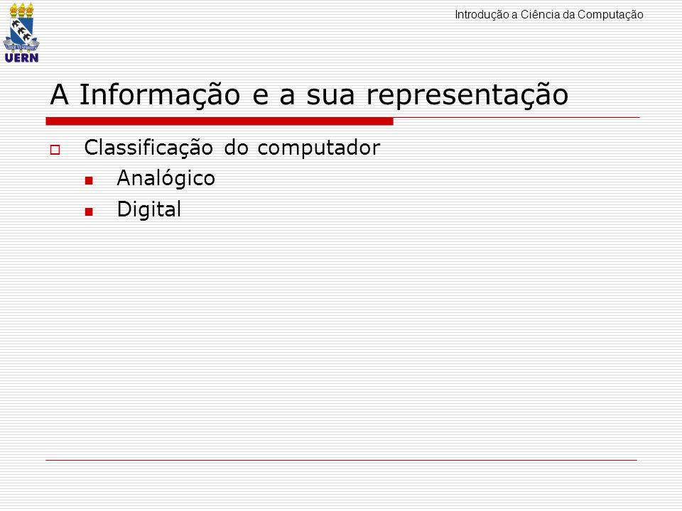 Introdução a Ciência da Computação A Informação e a sua representação Classificação do computador Analógico Digital