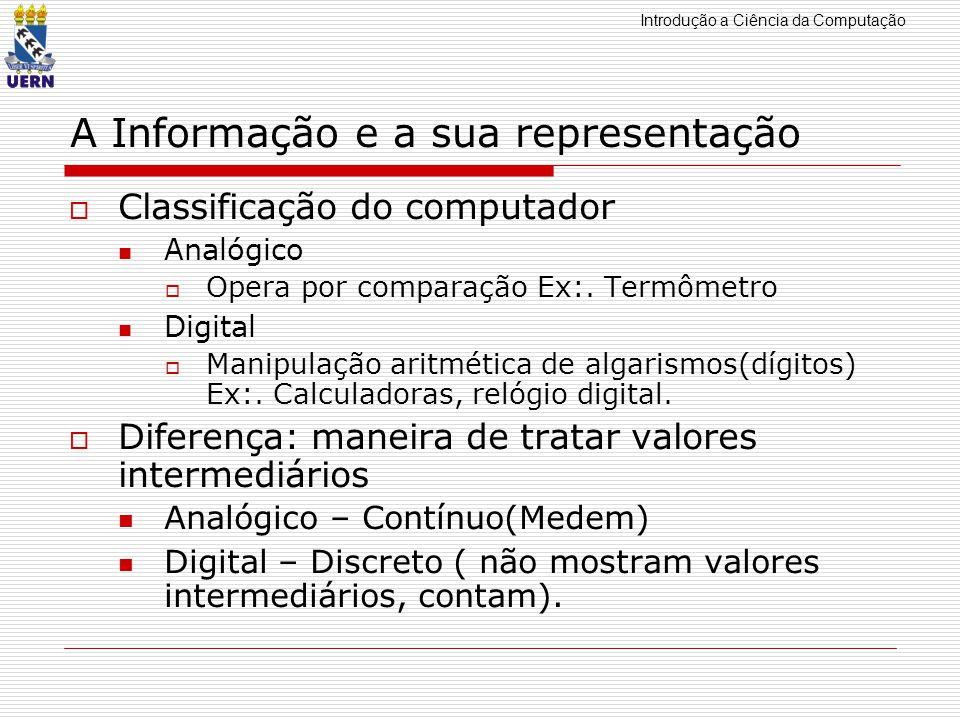 Introdução a Ciência da Computação A Informação e a sua representação Classificação do computador Analógico Opera por comparação Ex:. Termômetro Digit