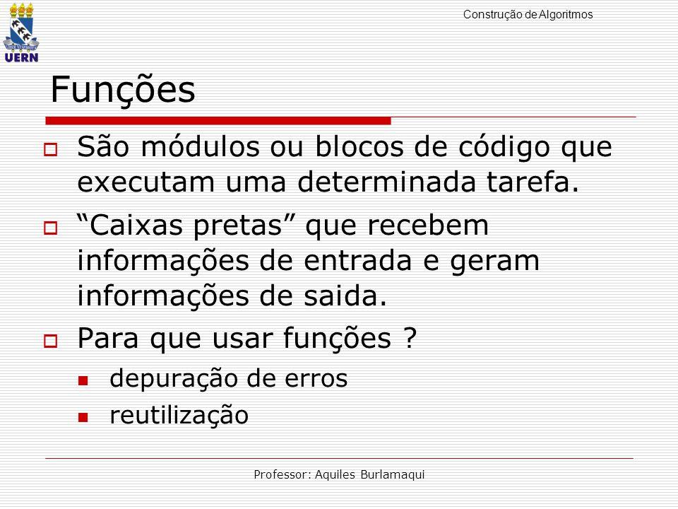 Construção de Algoritmos Professor: Aquiles Burlamaqui Funções São módulos ou blocos de código que executam uma determinada tarefa.