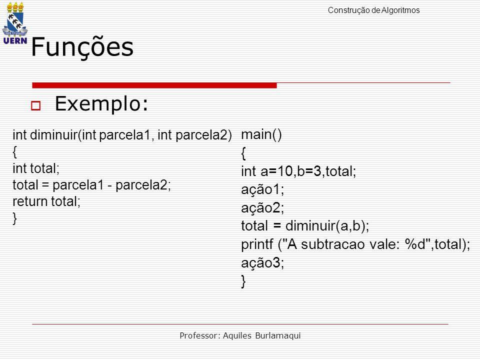 Construção de Algoritmos Professor: Aquiles Burlamaqui Funções Exemplo: int diminuir(int parcela1, int parcela2) { int total; total = parcela1 - parcela2; return total; } main() { int a=10,b=3,total; ação1; ação2; total = diminuir(a,b); printf ( A subtracao vale: %d ,total); ação3; }