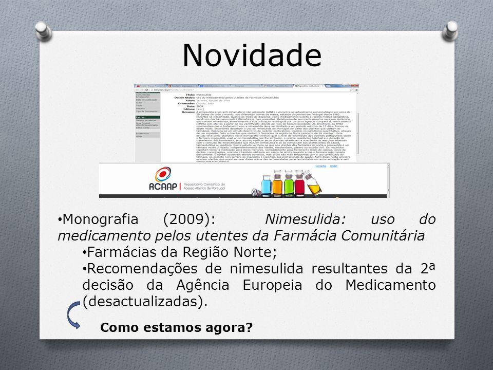 Novidade Monografia (2009): Nimesulida: uso do medicamento pelos utentes da Farmácia Comunitária Farmácias da Região Norte; Recomendações de nimesulid