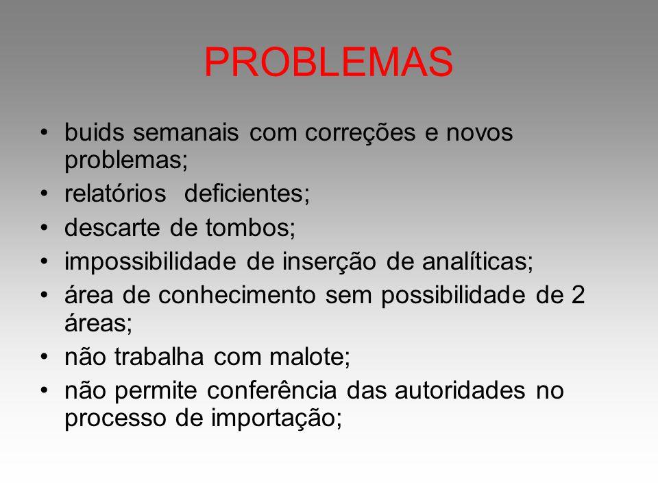 PROBLEMAS buids semanais com correções e novos problemas; relatórios deficientes; descarte de tombos; impossibilidade de inserção de analíticas; área