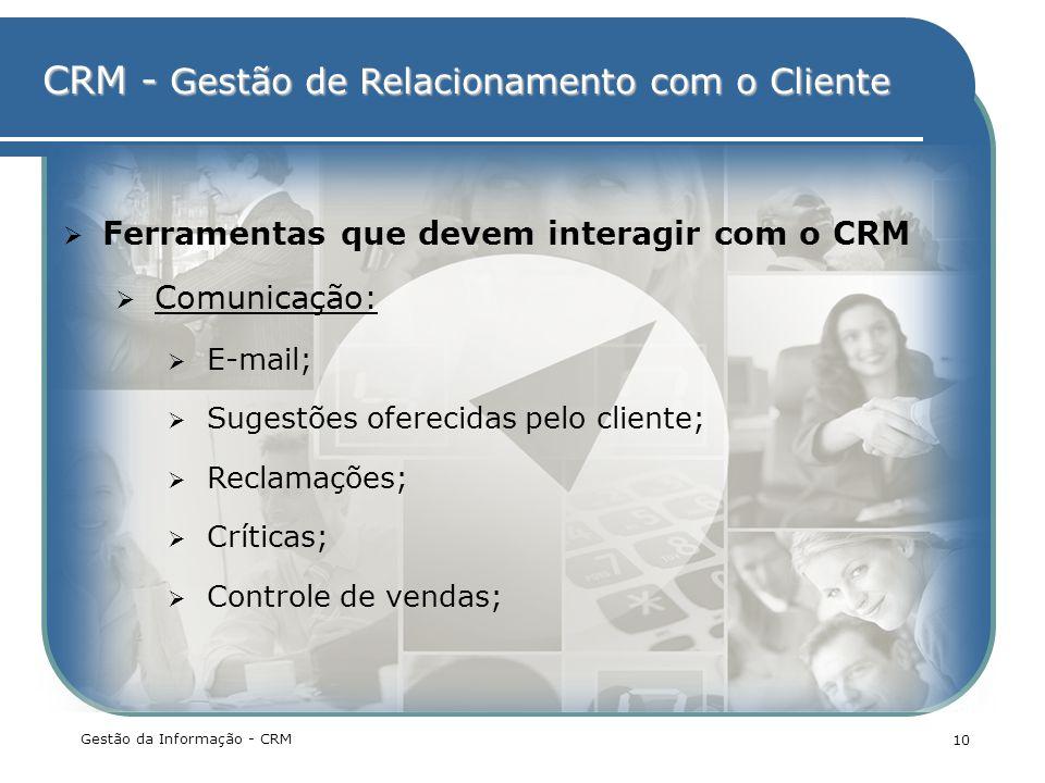 CRM - Gestão de Relacionamento com o Cliente Gestão da Informação - CRM 10 Ferramentas que devem interagir com o CRM Comunicação: E-mail; Sugestões of