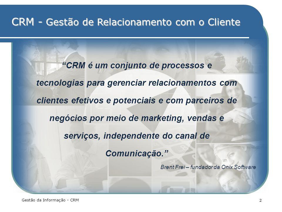 CRM - Gestão de Relacionamento com o Cliente Gestão da Informação - CRM 2 CRM é um conjunto de processos e tecnologias para gerenciar relacionamentos