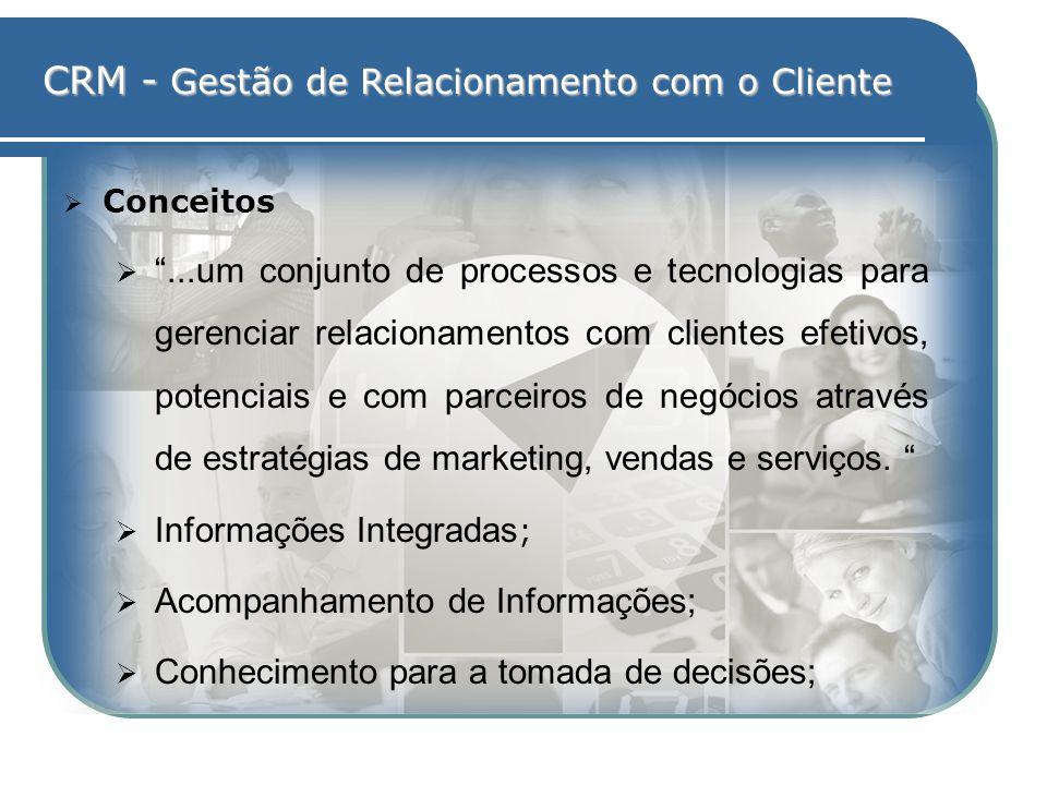 CRM - Gestão de Relacionamento com o Cliente Conceitos...um conjunto de processos e tecnologias para gerenciar relacionamentos com clientes efetivos,