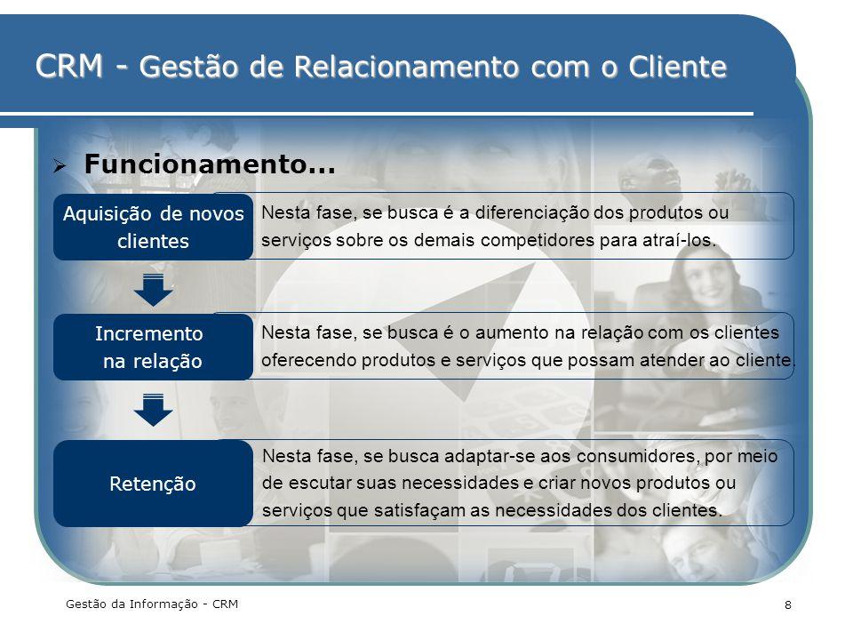 CRM - Gestão de Relacionamento com o Cliente Nesta fase, se busca adaptar-se aos consumidores, por meio de escutar suas necessidades e criar novos pro