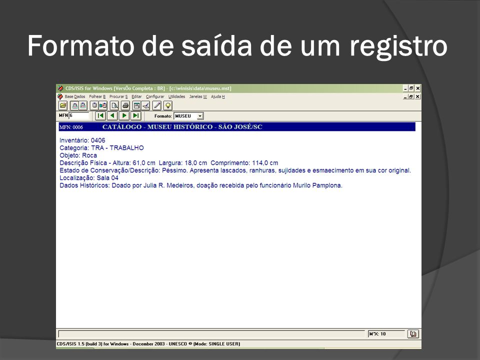 Formato de saída de um registro