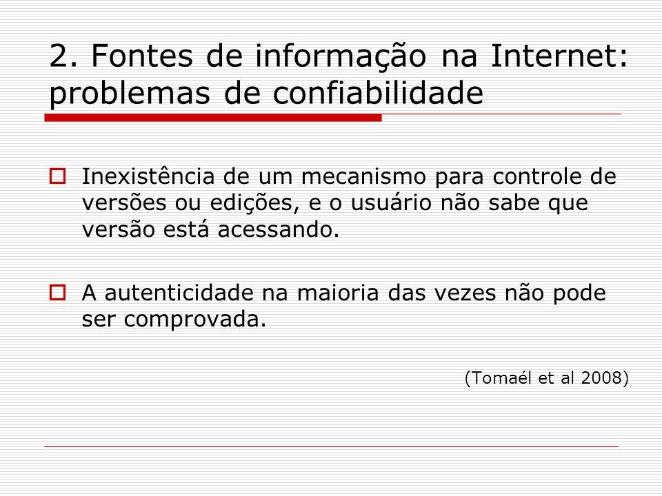 2. Fontes de informação na Internet: problemas de confiabilidade Inexistência de um mecanismo para controle de versões ou edições, e o usuário não sab