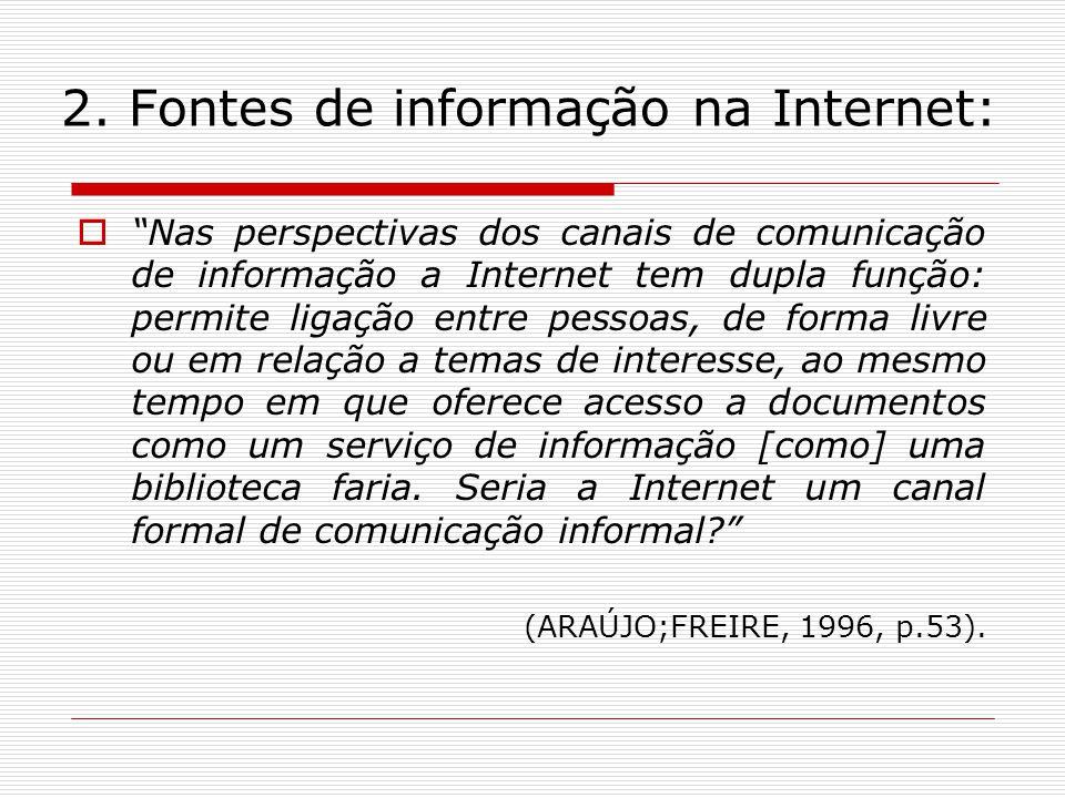 2. Fontes de informação na Internet: Nas perspectivas dos canais de comunicação de informação a Internet tem dupla função: permite ligação entre pesso
