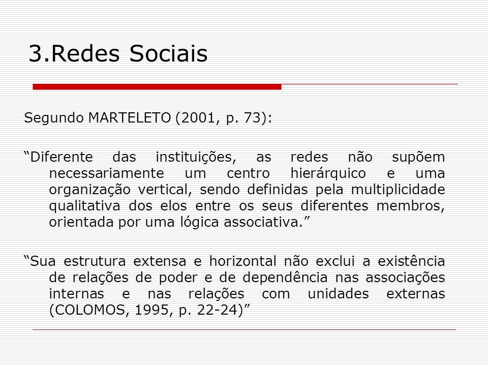 3.Redes Sociais Segundo MARTELETO (2001, p. 73): Diferente das instituições, as redes não supõem necessariamente um centro hierárquico e uma organizaç