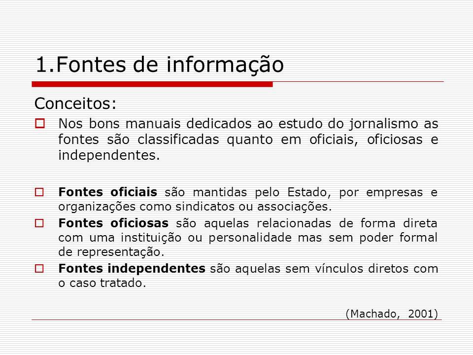 1.Fontes de informação Conceitos: Nos bons manuais dedicados ao estudo do jornalismo as fontes são classificadas quanto em oficiais, oficiosas e indep