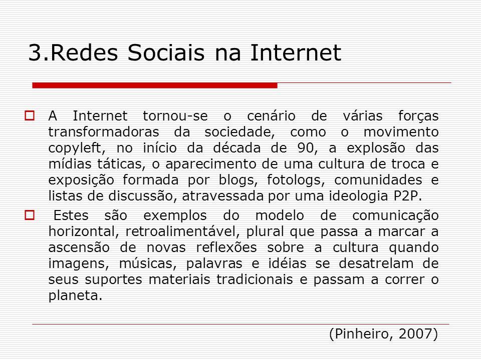 3.Redes Sociais na Internet A Internet tornou-se o cenário de várias forças transformadoras da sociedade, como o movimento copyleft, no início da déca