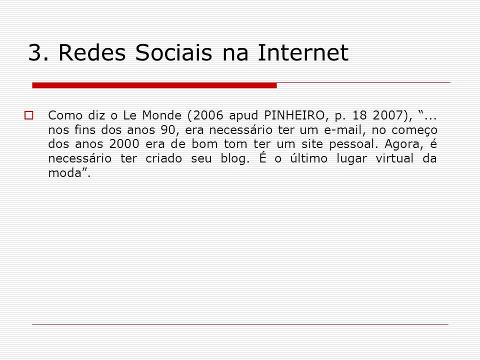 3. Redes Sociais na Internet Como diz o Le Monde (2006 apud PINHEIRO, p. 18 2007),... nos fins dos anos 90, era necessário ter um e-mail, no começo do