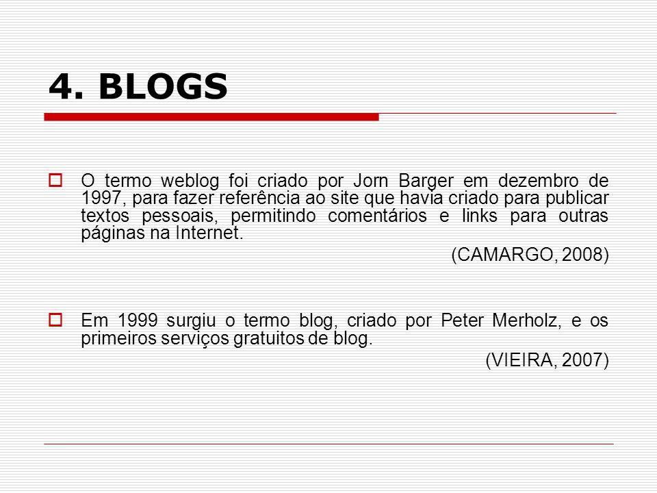 4. BLOGS O termo weblog foi criado por Jorn Barger em dezembro de 1997, para fazer referência ao site que havia criado para publicar textos pessoais,