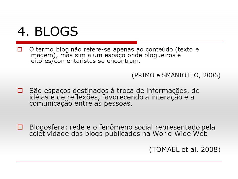 4. BLOGS O termo blog não refere-se apenas ao conteúdo (texto e imagem), mas sim a um espaço onde blogueiros e leitores/comentaristas se encontram. (P