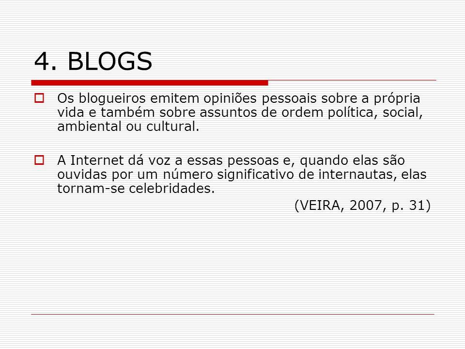4. BLOGS Os blogueiros emitem opiniões pessoais sobre a própria vida e também sobre assuntos de ordem política, social, ambiental ou cultural. A Inter