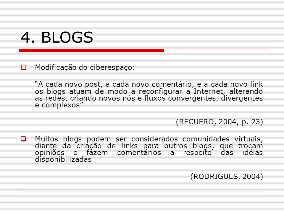 4. BLOGS Modificação do ciberespaço: A cada novo post, a cada novo comentário, e a cada novo link os blogs atuam de modo a reconfigurar a Internet, al